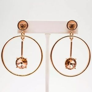 Signed🌟Oscar de la Renta Rose Gold Crystal Drop
